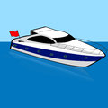 Speed boat cartoon illustration of a anchored on a calm spot Stock Photo
