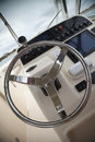 Speed boat controls steering wheel and inside a power Stock Images