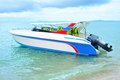Speed boat isolate floating on the sea Royalty Free Stock Image