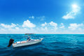Speed boat and water of ocean Royalty Free Stock Photos