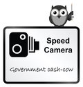 Speed camera monochrome government revenue sign on white background Stock Photos
