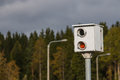 Speed camera on the road in Finland Royalty Free Stock Photo