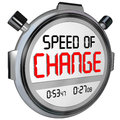 Speed of change stopwatch timer clock time to innovate words on a or illustrate the fast pace innovation and evolving compete Stock Photography