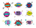 Speed comic pop art sale clouds. Vector elements bright colorful tags sale, special offer, hurry, best offer, low price