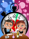 Speed dating concept love bob and meg first meeting in a illustration featuring bob and meg having a drink at table eight in Royalty Free Stock Photo