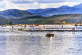 Speed House Boats Reflection Lake Coeur d` Alene Idaho Royalty Free Stock Photo