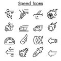 Speed icon set in thin line style