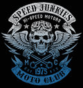 Speed junkies motorcycle vintage design Stock Image