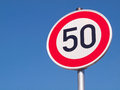 Speed limit in German cities Stock Photo