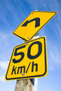 Speed limit left turn Royalty Free Stock Photo