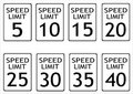 Speed limit road signs Royalty Free Stock Images