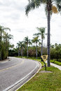 Speed Limit Sign on Curving Road Through Tropics Royalty Free Stock Photo