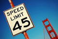 Speed limit sign on Golden Gate Bridge Stock Photos
