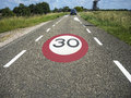 Speed limit sign on the road Royalty Free Stock Photo