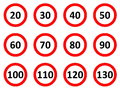 Speed limit signs limitation road in white background Stock Photo