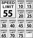 Speed limit signs Royalty Free Stock Photo