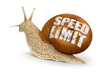 Speed limit snail clipping path included image with Royalty Free Stock Image