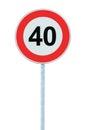 Speed Limit Zone Warning Road Sign, Isolated Prohibitive 40 Km Kilometre Kilometer Maximum Traffic Limitation Order, Red Circle Royalty Free Stock Photo