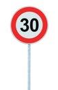 Speed Limit Zone Warning Road Sign, Isolated Prohibitive 30 Km Kilometre Thirty Kilometer Maximum Traffic Limitation Order Royalty Free Stock Photo