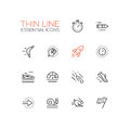 Speed - modern vector single thin line icons set