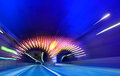Speed photo of a highway tunnel motion blure Royalty Free Stock Photos