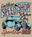 Speed shop old vintage car illustration Stock Photography