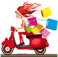 Speed shopping girl riding a motorcycle carrying bags Royalty Free Stock Photos