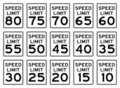 Speed Signs Set Royalty Free Stock Images
