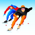 Speed-skaters Stock Image