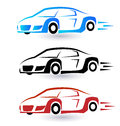 Speed sporting cars set of three colors icon image Stock Images