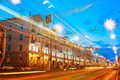 Speed traffic light trails on city road at night gomel belarus november lenin avenue in gomel belarus street long exposure Stock Photos