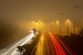 Speed Traffic - light trails on motorway highway at night Royalty Free Stock Photo