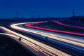 Speed traffic light trails on motorway M0 to Budapest Royalty Free Stock Photo