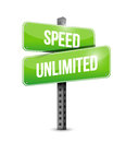 Speed unlimited signpost illustration design over a white background Stock Image