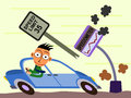 Speed up business a cartoon illustration of an over speeding man Stock Image