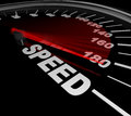 Speed word on speedometer win race be fast and quick a with red needle pointing to the representing the importance of speeding up Stock Photography