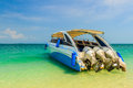 Speedboat on beautiful island beach at andaman sea phi phi krabi thailand Royalty Free Stock Photography