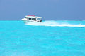 Speedboat in the maldives sea Royalty Free Stock Photo