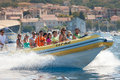 Speedboat vis croatia august tourists on taxi speed boat on the way to the island of bisevo to see the blue cave Stock Photos