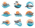 Speedboat and yacht icons Royalty Free Stock Photo