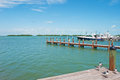 Speedboats, pier, seagulls, birds, Key West, Keys, Cayo Hueso, Monroe County, island, Florida Royalty Free Stock Photo