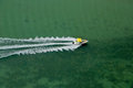 Speeding boat aerial view of on ocean Stock Image