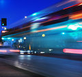 Speeding bus, blurred motion Royalty Free Stock Photos