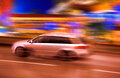 A speeding car at night Royalty Free Stock Images
