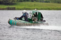 Speeding Hovercraft racer Stock Image