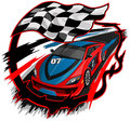 Speeding racing car design with checkered flag racetrack Royalty Free Stock Photos