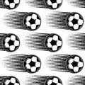 Speeding soccer ball seamless pattern black and white with motion trails behind the in square format for sports design Stock Photo