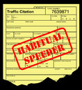 Speeding ticket with habitual speeder stamp on black background Stock Image