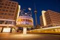 Speeding tram at Berlin Alexanderplatz and World Clock Royalty Free Stock Photo