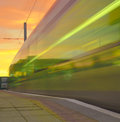 Speeding Tram at Sunset Royalty Free Stock Photography